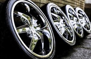 22 inch chrome rims with rubber!