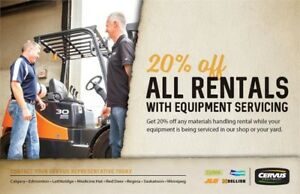 Book your equipment service and save 20% on rentals