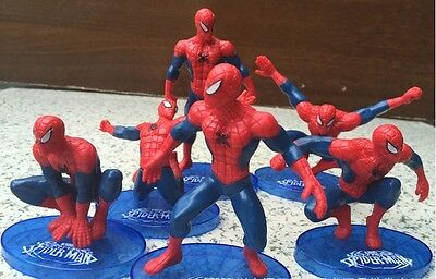 6 in 1 SpiderMan Garage Kit Toy Doll PVC Action Figure Gift Ornaments