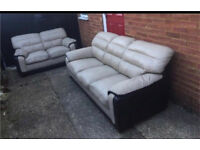 2 & 3 seater leather cream and beige sofas