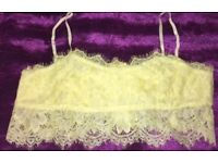 Stunning yellow lace crop top size 10 New