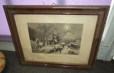 altes Bild Grafik Christnacht Weihnachten selten