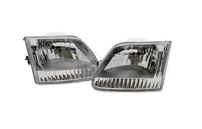 - 97-04 Ford F150  F250 Expedition Headlights = Corner Set Chrome Diamond Clear