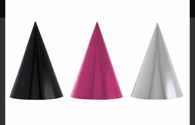 12 Pack Birthday New Years Party Hat Pink Black - Black Birthday Party Hats