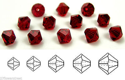 Siam Red Bicone Crystal Beads - Czech MC Glass Bicone Beads (Rondell/Diamond) Siam, dark red color crystals