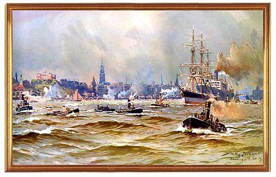 Deutsches Reich Hamburg Hafen 1909 Gemälde Stöwer 13 LW