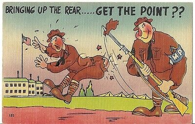WWII Original PM 1943 Linen Army Comic PC- Bringing Up The Rear- Get the Point?