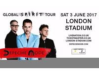 DEPECHE MODE TICKETS, OLYMPIC PARK 3RD JUNE GREAT SEATS £100 FOR TWO TICKETS ABSOLUTE BARGAIN