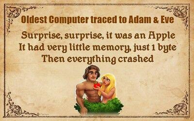 (First Computer) sign, plaque, biblical, Christianity, Adam & Eve, Apple, wood](Adam And Eve Novelties)