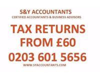 Tax Return from £60, Self Assessment, CIS Rebates,Tax Refund, VAT, Payroll, Accountant, Bookkeeping