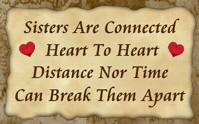 (Sisters Are Connected) sign,plaque, close, love family, togetherness,wall - Sisters Plaque
