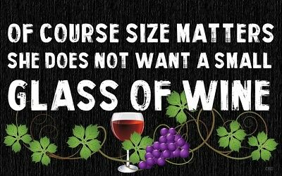 (Wine Size Matters)  Sign, wine glass, grapevine, large, plaque, wall decor ()