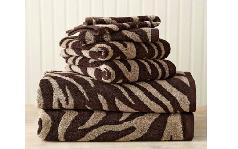 Better homes and gardens 6 piece zebra bath towel collection chocolate brown for Better homes and gardens bath towels