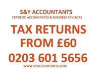 Tax Return/Self Assessemnt from £60 CIS Rebates,Tax Refund, VAT, Payroll, Accountant, Bookkeeping