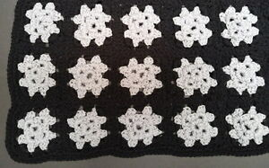 New black-and-grey 52 x 32-inch hand-crocheted afghan blanket
