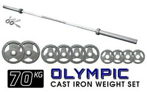 Olympic Barbell and Weight Plate Package