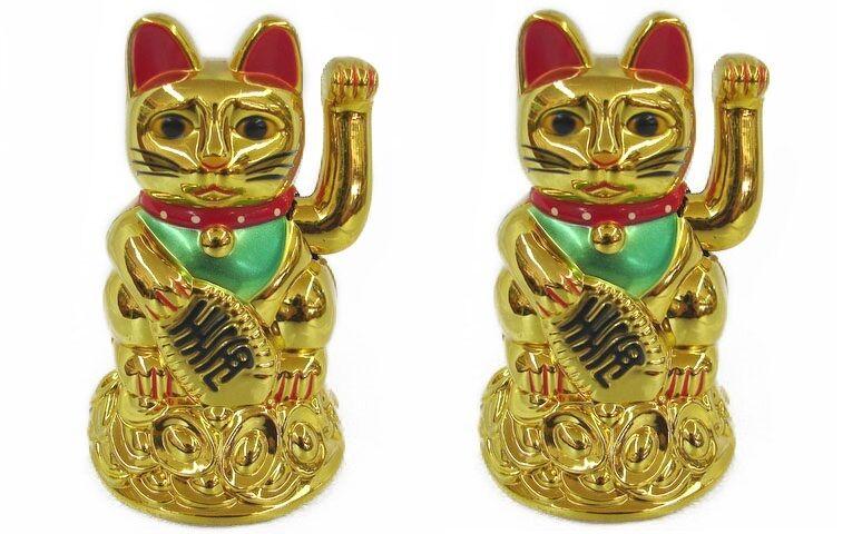 """2 PCS Feng Shui GOLD BECKONING CAT Wealth Lucky Waving Kitty Maneki Neko 4"""" Tall"""