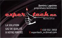 Installation et entretien d'appareil au gaz propane