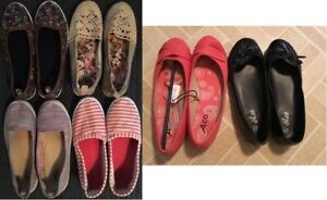 LOT 6 Pairs of Slip On Shoes Size 9