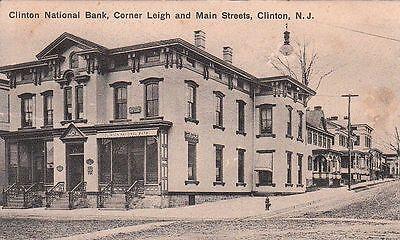 Postcard Clinton National Bank Corner Leigh and Main Streets Clinton NJ  ()