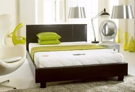 "BLACK / BROWN !! BRAND NEW DOUBLE LEATHER BED WITH 10"" WHITE ORTHOPEDIC MATTRESS"