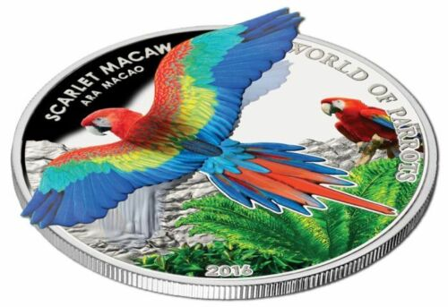 2016 Cook Islands $5 Silver Proof World of Parrots Scarlet Macaw 3D coin!