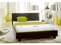 uk best quality charming faux double leather bed frame + plain headboard and mattress