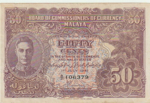"Malaya-British,50 Cents Banknote,1.7.1941,About Uncirculated Cond,P#10-A,""King"""