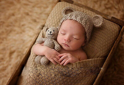 Newborn Baby Bear +Hat Set Girl Boy Photography Prop Photo Crochet Knit Costume](Baby Boy Bear Costume)