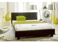 BRAND NEW- Double Leather Bed with 8inch Economy ECO-Sprung Mattress - Single and Kingsize Available