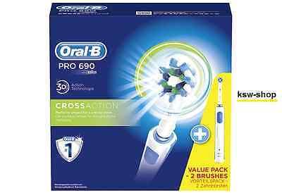 Braun Oral-B PRO 690 CrossAction Elektrische Zahnbürste mit 2. Handstück