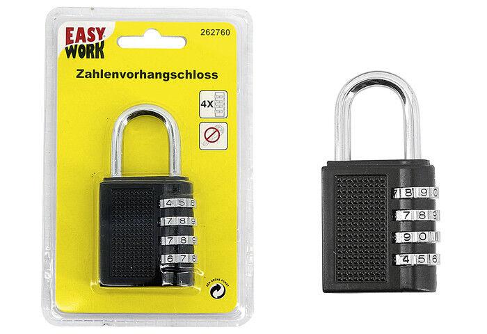 EASY WORK Zahlenvorhangschloss Zahlenschloss Schloss Vorhängeschloss Vorhang