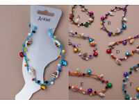 Coloured bead and shell string anklet. In an assortment of 6 colours - JTY010