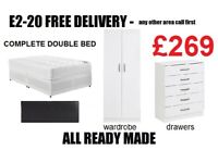 Double Bed + Wardrobe + Chest Drawer £269 FREE DELIVERY + SET UP IN ROOM OF CHOICE - WHITE