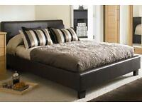 Brand New Double Leather Bed with 10inch Original Deep Quilt Mattress in Jet Black or Coffee Brown