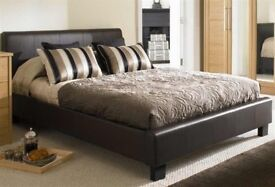 Beautiful Stylish Double Leather Bed with Mattress Options - Same\Next Day Delivery