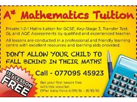 MATHS TUTOR GCSE / TRANSFER TEST, GL and AQE TUITION