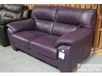 New with tag DFS RHYTHM Purple Real Leather Sofa 2 Seater Notts