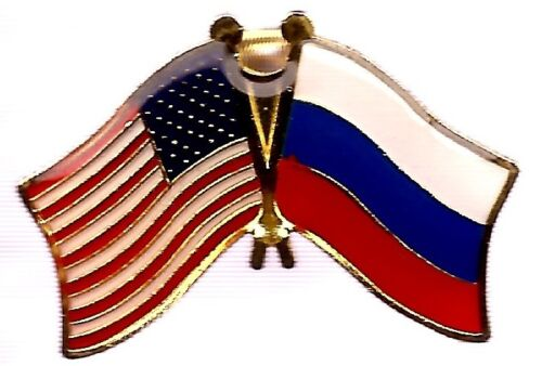 LOT OF 12 Russia Friendship Flag Lapel Pins - Russian Crossed Flag Pin
