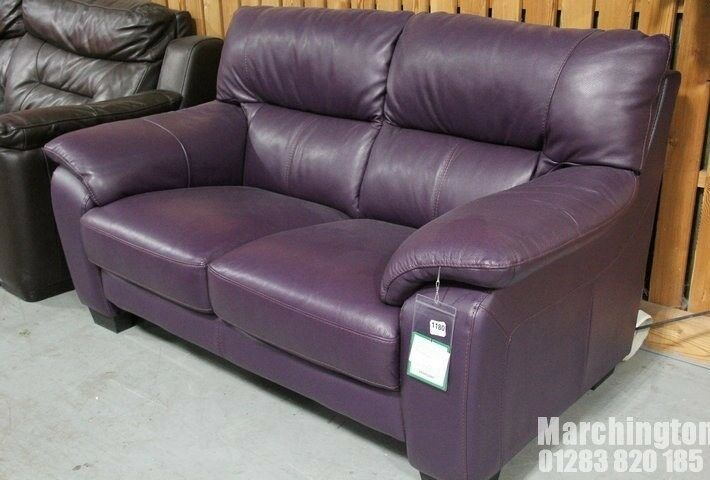 New With Tag Dfs Rhythm Vibrant Purple Real Leather Sofa 2 Seater Cw