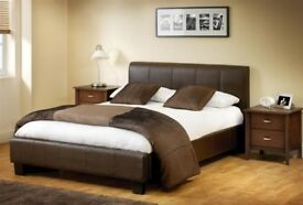 BIGGEST SALE IN UK BRAND NEW BLACK WHITE LEATHER BED BASE DOUBLE OR KING SIZE w MEMORY FOAM MATTRESS