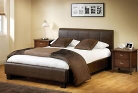 BEST PRICE OFFERED - BRAND NEW DOUBLE LEATHER BED WITH ROYAL WHITE ORTHOPEDIC MATTRESS