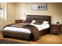 BLACK BROWN AND WHITE COLOURS! BRAND NEW DOUBLE LEATHER BED IN BLACK AND BROWN WITH MATTRESS