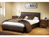 GET IT NOW-- DOUBLE OR KINGSIZE LEATHER BED WITH 10 THICK WHITE ORTHO MATTRESS