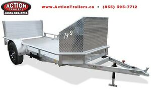 H&H fully aluminum Motorcycle trailer 5.5'x10' with rock guard