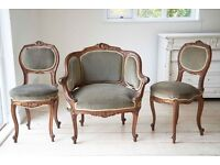 3 Antique Hand carved Walnut chairs, upholstered in pale sage green Velvet