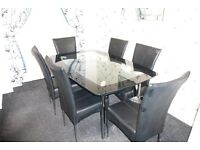 Harveys Boat range Black glass and Chrome table and 6 chairs