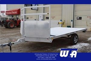 2017 H AND H 8.5'X12' ALL ALUMINUM Snowmobile Flatdeck Trailer