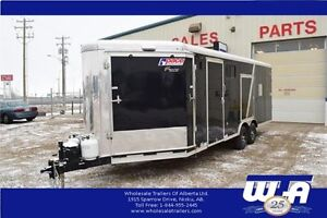 27' / 4 PLACE ENCLOSED HEATED TRI SPORT TRAILER-CLEARANCE PRICE