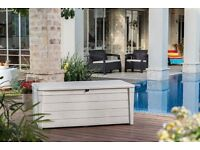 NEW Keter Wood Look Outdoor Pool Storage Deck Box, 454 L - White